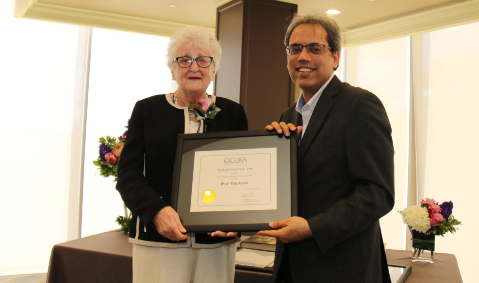 Sue Baptiste OCUFA Award