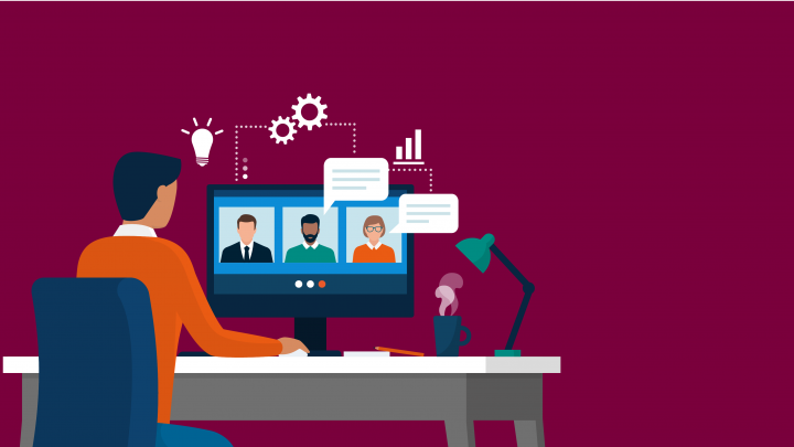 Illustrated graphic showing man sitting at computer on a video call.