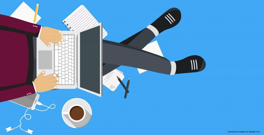 Illustration of student working on laptop
