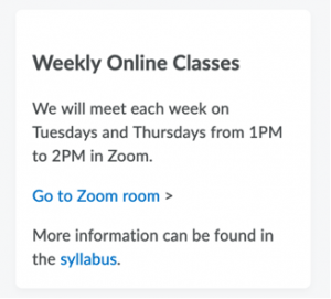 Custom widget that students can use to connect to a virtual classroom directly from the course homepage