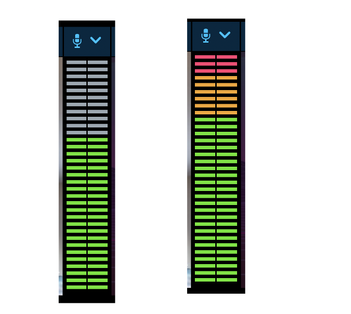 Audio levels displayed in a vertical bar graphic.