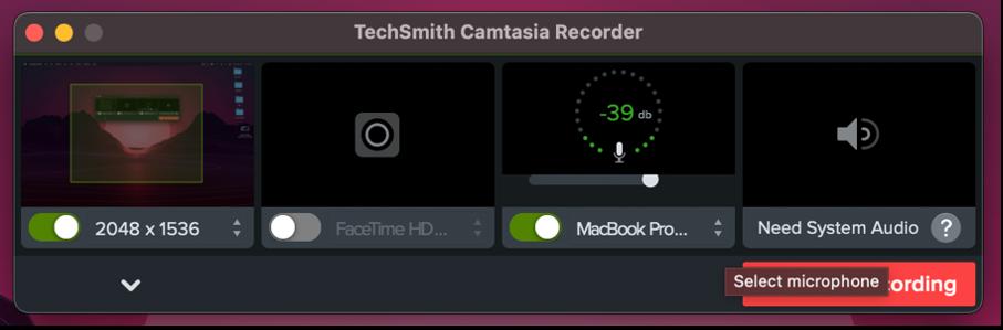 audio input source in Camtasia