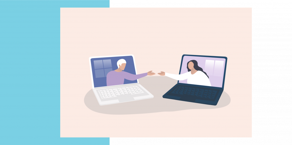 Graphic illustrated image of two people in laptops reaching out to touch hands.