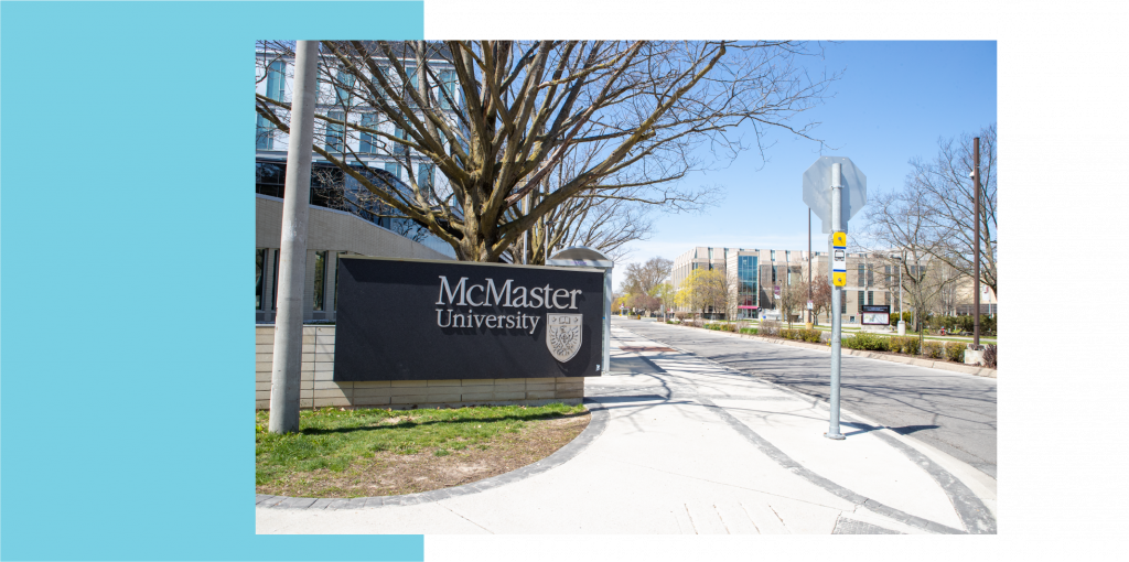 Image of McMaster University sign taken at the Stirling Street entrance to campus